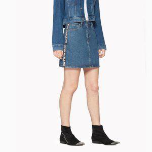 Calvin Klein Side Logo High Rise Mini Jean Skirt